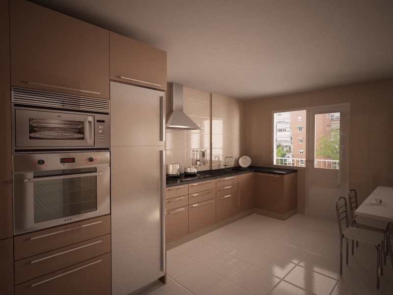 Recreaci n virtual reformar cocina en madera - Reformar cocina presupuesto ...