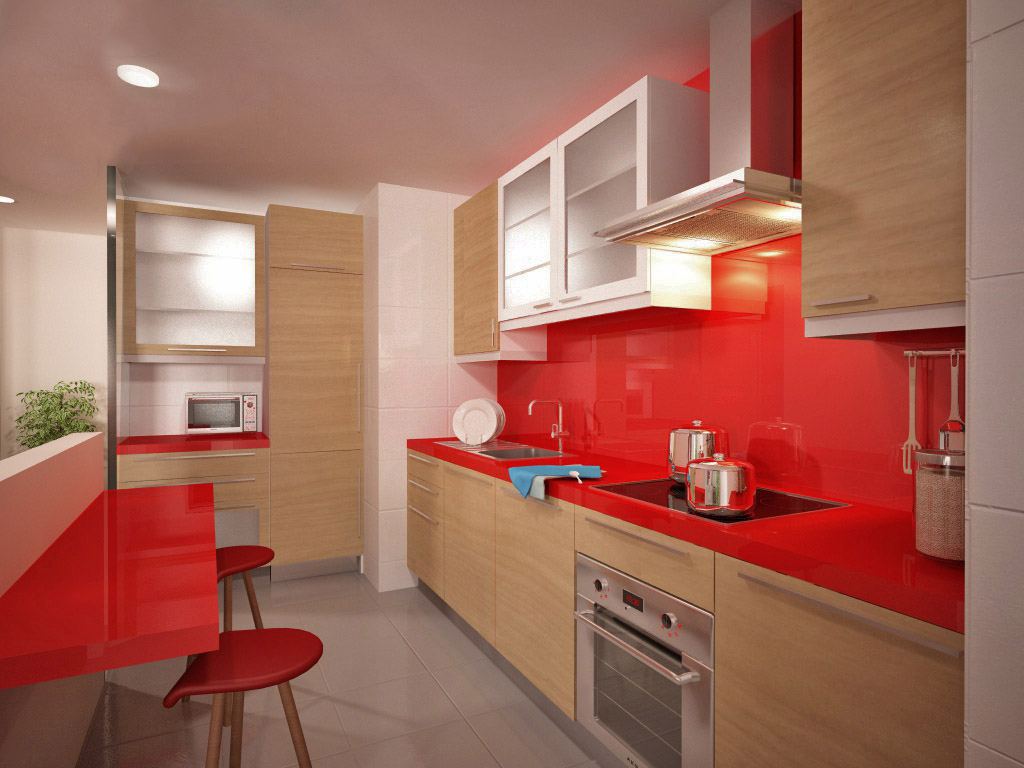 Recreaci n virtual reformar cocina abierta y sal n - Salon y cocina integrados ...